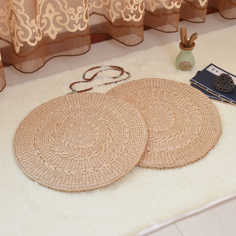 Southeast Asia Tatami Ultra thin cushion Yoga mats grass futches pastoral style round natural cattail straw braid mat