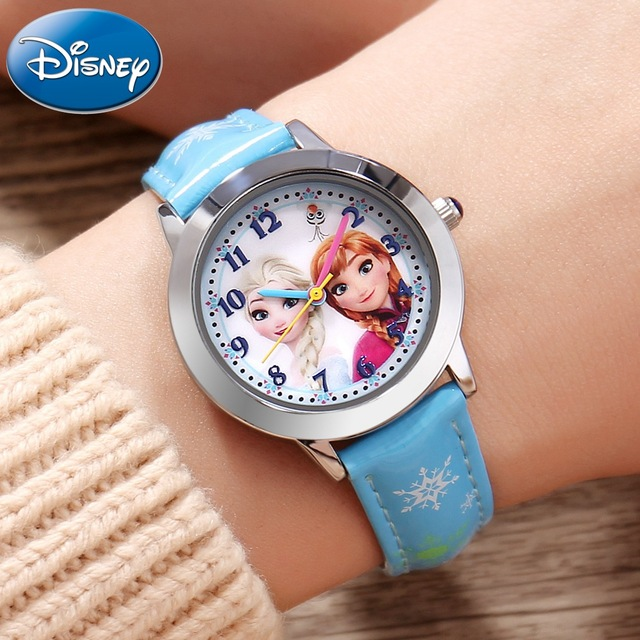 Original Disney Frozen Elsa Anna Sofia Princess Girl Leather Quartz Fashion Colo