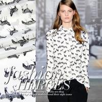 114cm wide 14mm horse print mulberry silk crepe de chine fabric for shirt dress clothes 0852