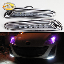 цена на DRL For Mazda 3 Mazda3 2010 2011 2012 2013 LED Daytime Running Lights Daylight fog lamp cover headlight with yellow turn signal
