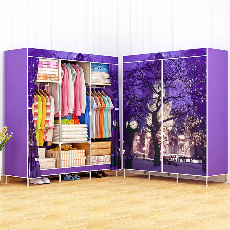 3D Printing Wardrobe Non-woven Fabric Steel Frame Standing Clothes Storage Cabinet Organizer Shelf Home Bedroom Furniture