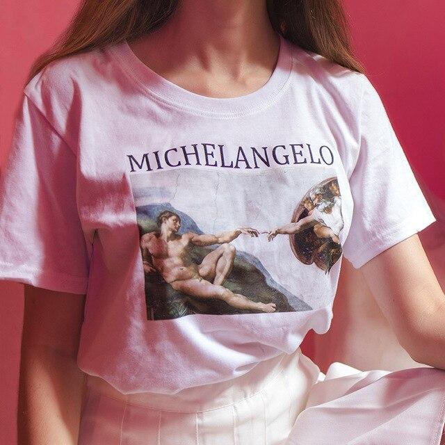 3ec7a3e00257 Michelangelo Cappella Sistina tshirt harajuku ulzzang tumblr t shirt women t -shirt kawaii t shirt