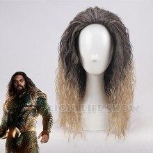 Film Justice League Aquaman peruk Aquaman rol oynamak Poseidon saç komik Cosplay kostüm peruk Jason Momoa