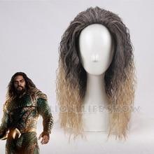 Filme liga da justiça aquaman peruca aquaman role play poseidon cabelo comic cosplay perucas traje jason momoa