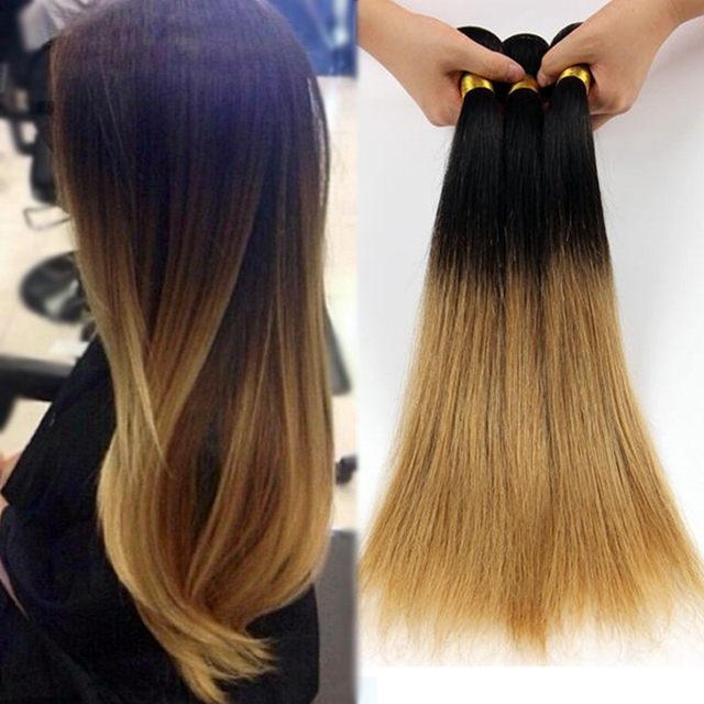4pcs 7a Straight Ombre Hair Weave Indian Ombre Human Hair Two Tone