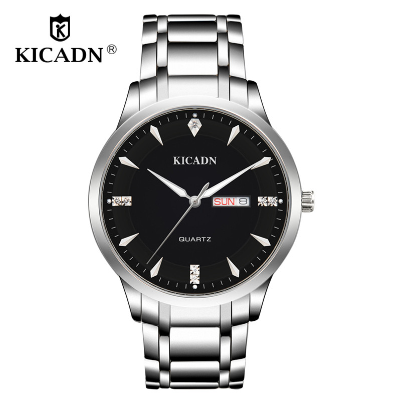 Business Men Dress Watch Mens Fashion Quartz Watches Analog Calendar Steel Male Wristwatches KICADN Casual Clock Erkek Kol Saati orkina fashion casual men clock black stainless steel case male watches japan quartz movement water resistant erkek kol saati