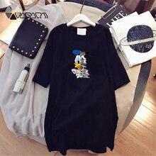 Donald Duck Dress Women Cartoon Print Loose Plus Size Mini Funny Summer Dresses Vestido Disney Mujer Clothing Fashion