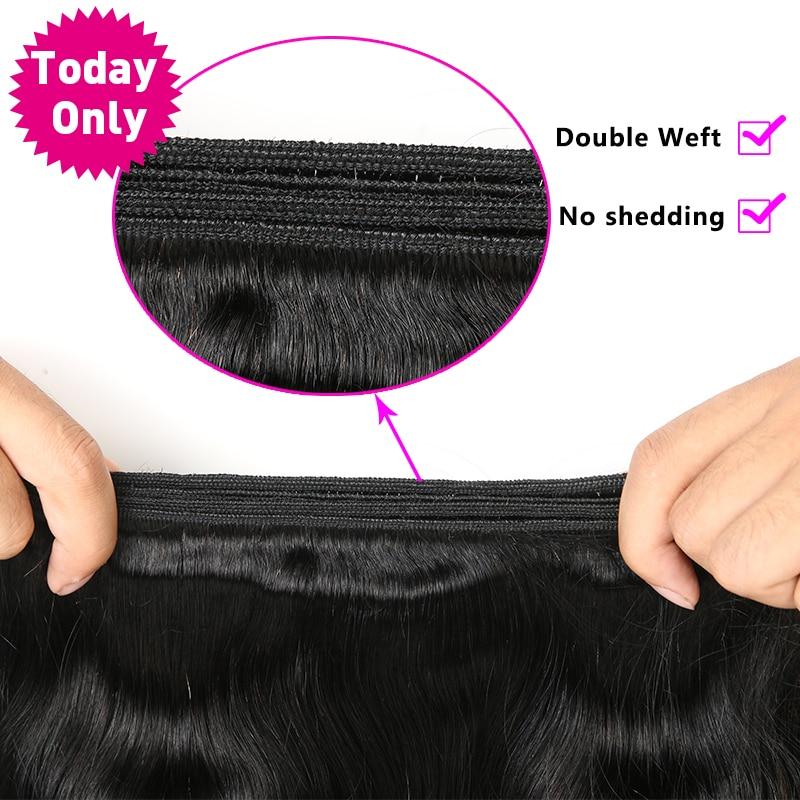 TODAY ONLY TIKAI 1/3/4 komplekti Brazīlijas ķermeņa viļņu - Cilvēka mati (melnā krāsā) - Foto 6