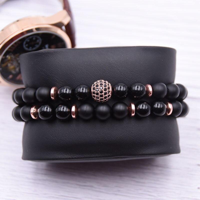 2pc/sets8mm Natural stone Bracelet men Micro Pave CZ 10mm Disco Ball Charms Bracelets for women Men jewelry viking bijoux 2