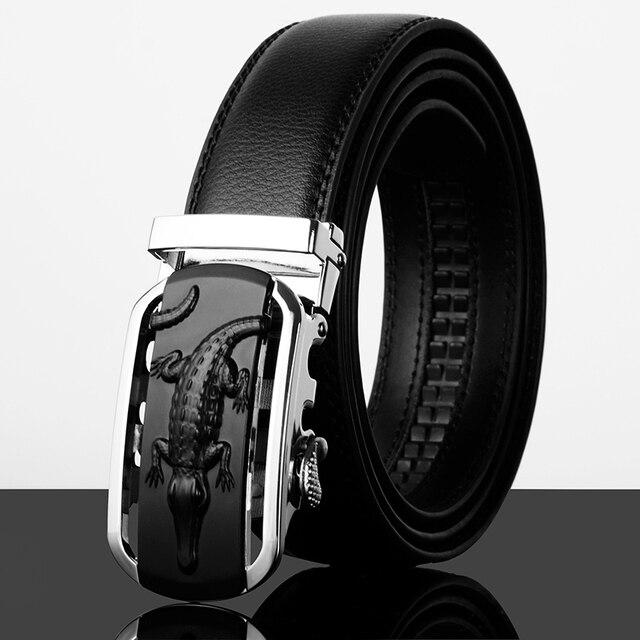 De lujo de piel de cocodrilo hombres del cuero del zurriago negro de moda cinturones de hebilla automática 110 cm - 130 cm
