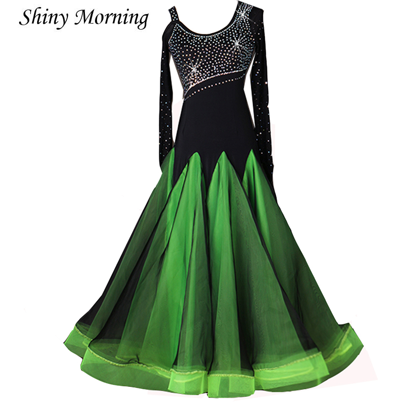 long sleeve customize greenModern Tango Dress   Quick Step DressViennese Waltz Dress Waltz Dresses green color