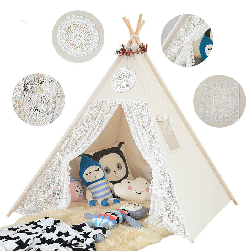 Крем Кружева вигвама палатка Опора вигвама кружева палатка детская wigwam палатка