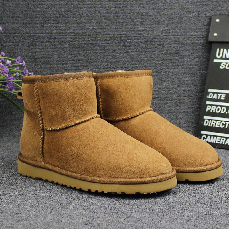 Snow Boots Classic Genuine Leather Sheepskin Winter Boots Women Fur Plush Insole Wool Ankle Boots For