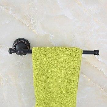 цена на Black Oil rubbed Antique Brass Bathroom Accessory Wall Mounted Single Towel Bar Towel Rail Rack Holder Bathroom Fitting aba460