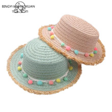 2018 Child Summer Panama Sun Hats Colorful Tassel Balls Straw Hat Girl Floppy Wide Brim Beach Cap Flower Sombreros