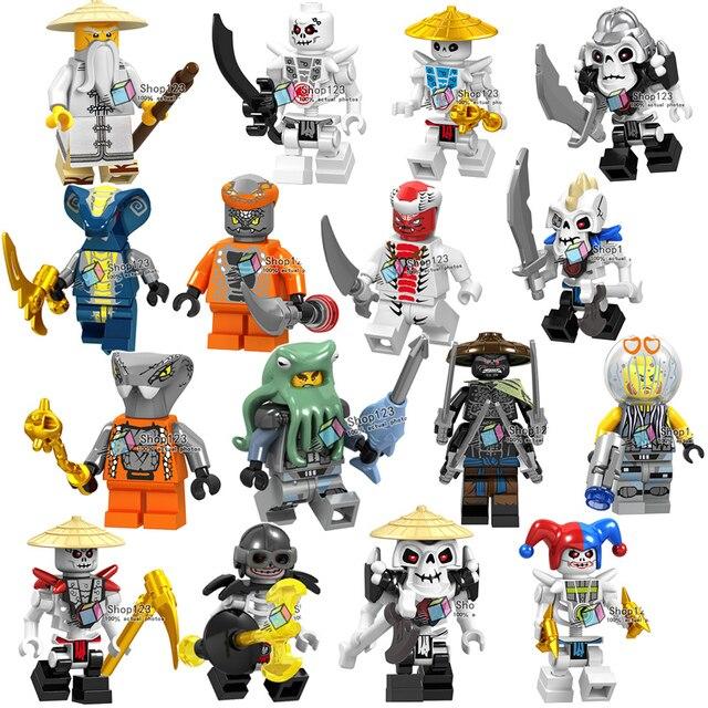 Nova Ninjagoed Legoings Soldado Figura de Ação Esqueleto De Peixe Cobra Frakjaw Garmadon Arma Exército Building Blocks Brinquedos para Crianças
