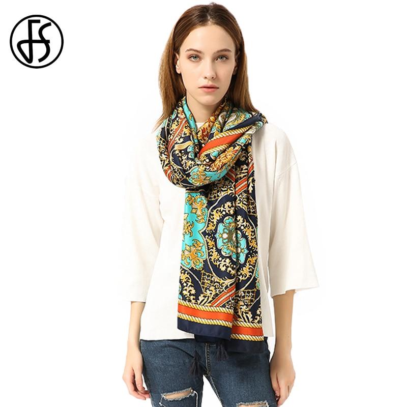 FS Winter Geometric Pattern Print Bandana Sunscreen Cotton Silk Scarf Large Women Bohemia Shawl Scarves Tassel Beach Pashmina