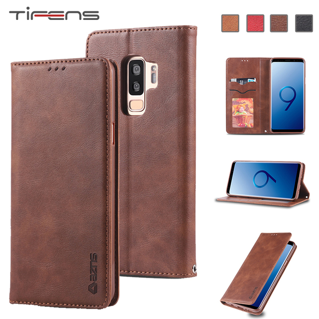 Leather Case For Samsung S9 S8 S10 J6 A6 A8 Plus A7 A9 2018 M20 M30 A20 A30 A40 A50 A60 A70 A80 A90 Note 9 Magnetic Wallet Cover