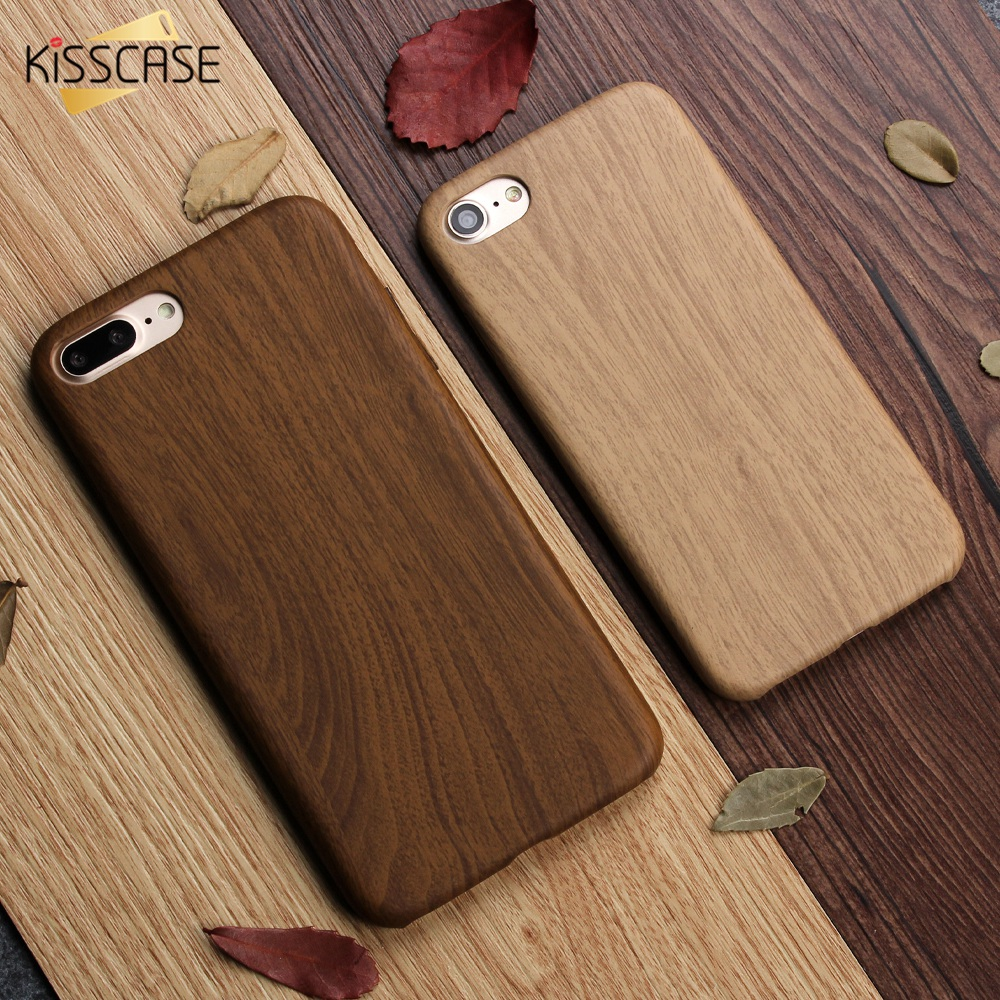 KISSCASE Case Cover For iPhone 7 7 Plus 6 6S Plus 5 5S SE Ultra Slim Wood Bamboo Skin PU Leather Mobile Phone Case Shell Cover