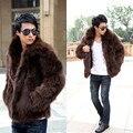 Short Black Men's Faux Fox Fur Overcoat Fur Lapel Thickening Warm Leather Jackets Men's Fur Coat