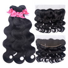 Body Wave Bundles With Frontal Peruvian Hair Lace Frontal Closure With Bundle Remy Human Hair Bundles With Frontal