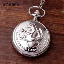 Fullmetal Alchemist Pocket Watch Shinny Silver black FOB Necklace Chain Men's Quartz Pocket Pendent Watches Relogio De Bolso