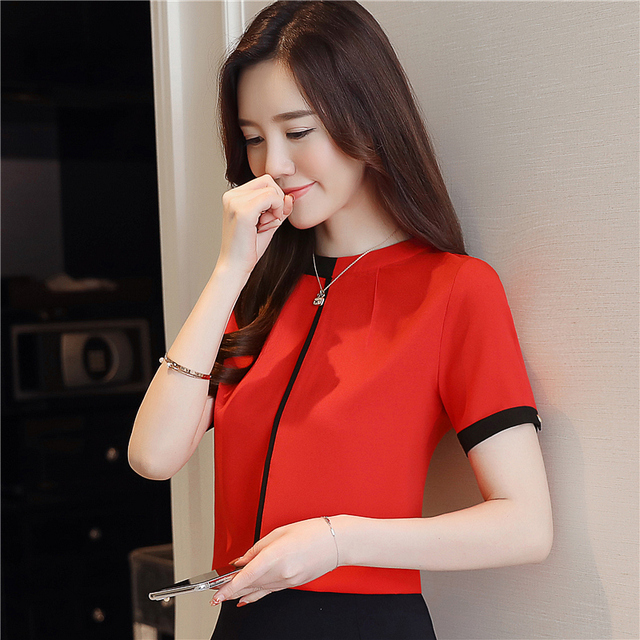 2018 summer chiffon women blouse shirt short sleeve elegant ladies office women tops casual slim white women clothing 0215 40 4