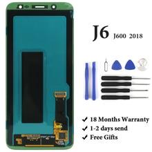 درجة AMOLED لسامسونج J6 2018 شاشة LCD OEM مع محول الأرقام شاشة تعمل باللمس الجمعية لسامسونج J600 J600F J600G شاشة LCD