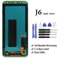 Grau AMOLED Para Samsung J6 2018 OEM Display LCD Com Tela de Toque Digitador Assembléia Para Samsung J600 J600F J600G LCD tela