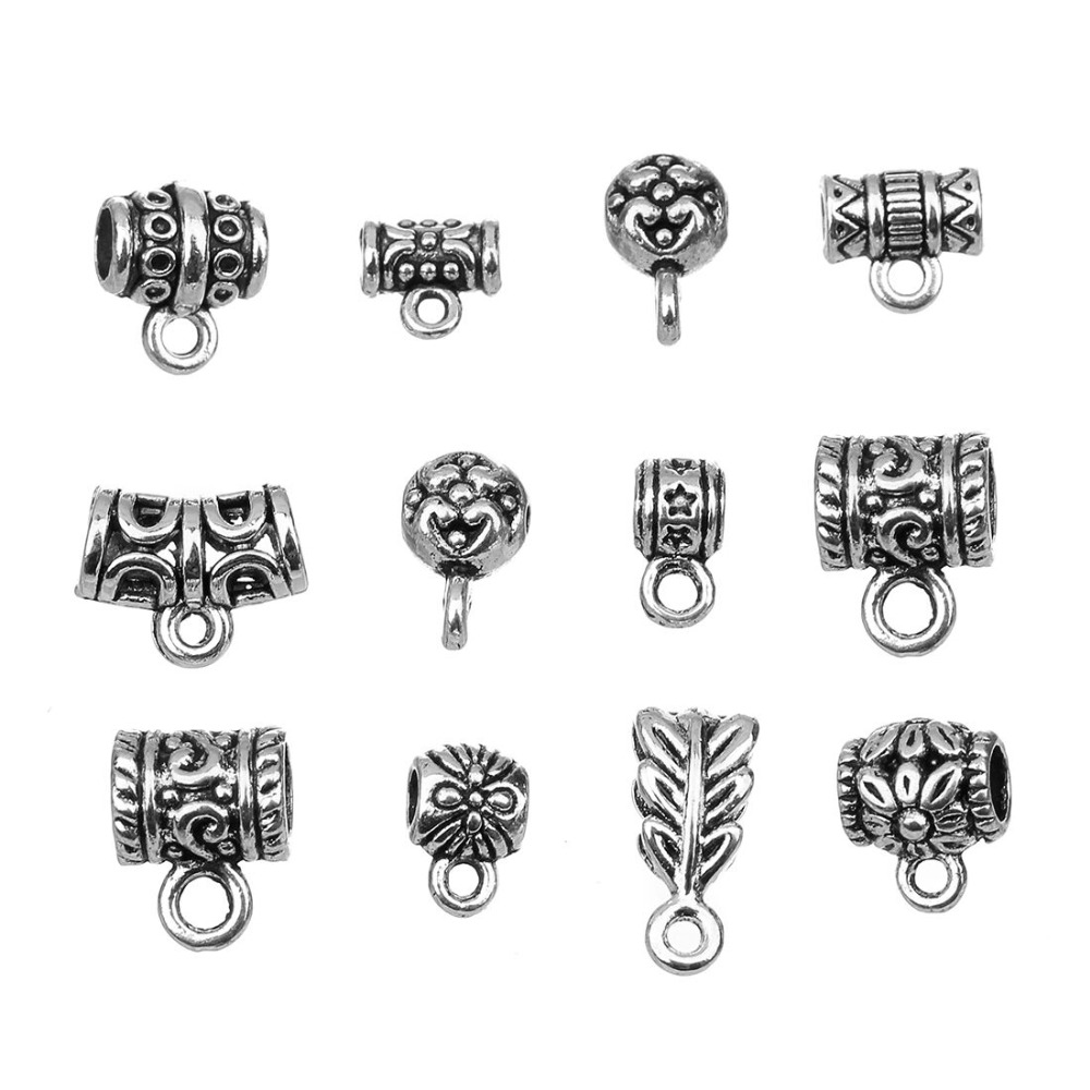 20pcs/bag Antique Silver Color Bail Beads For Bracelets Pendant Necklace Connectors For DIY Jewelry Making Accessories F800