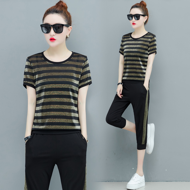 Neon Striped Velvet 2 Piece Set Tracksuits for Women Outfits Plus Size Big Wide Pants Suits and Top 2019 Summer Black Clothing in Women 39 s Sets from Women 39 s Clothing