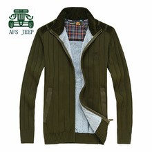 AFS JEEP Cashmere Inner Men's Thick Sweater 2015 Winter Autumn Keep Warmly Coat,new design Cardigan Knitted Sweater casual