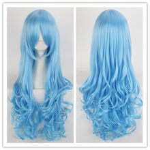 Halloween Cosplay DATE A LIVE Yoshino Blue Wig Role Play Long Curly Wavy