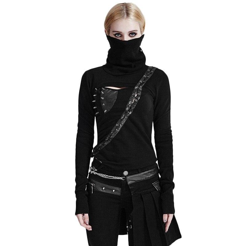 Steampunk femmes noir col haut dos nu asymétrique tricot chemises noir Rivets poche Messenger chaîne chemises décontractées