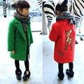 Meninas de Inverno Casacos De Lã 2016 Casacos de Cashmere Casaco de Tweed Espessamento das Crianças Princesa Casacos de Tweed Moda Cashmere 2-8A