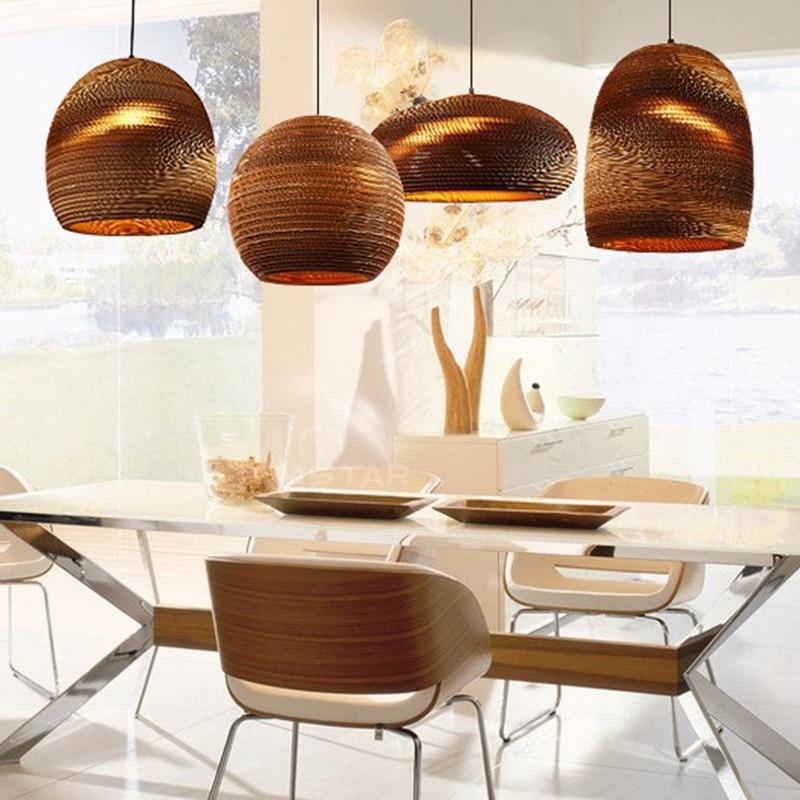 Industrial Modern Nordic Pendant Corrugated Paper Lamp Lights Hanging Lighting For Home Dining Room Cafe Bar Decoration