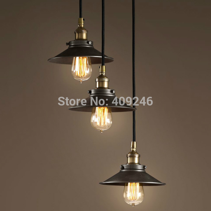 3 Lights S22CM LOFT American Stytle Vintage Industrial Lamp Pendant Light E27 Edison Droplight For Cafe Bar Dining Room industrial black edison rh loft droplight ceiling lamp pendant for clothing shop cafe bar hall dining room