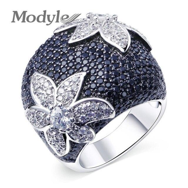 Modyle New Brand Full Black Cubic Zirconia Ring CZ Stone Flower Wedding Ring for Woman