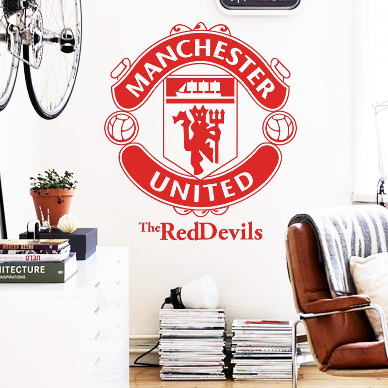 Art design home decoration vinyl football marks wall for Man u bedroom ideas