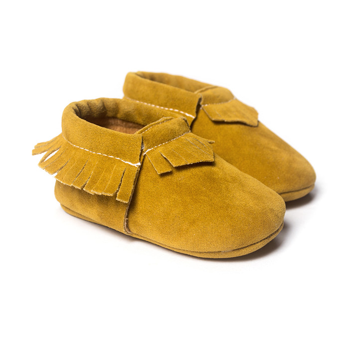 brand baby girls shoes boys First Walkers yellow color baby moccasins Soft Bottom Tassels Newborn Shoes