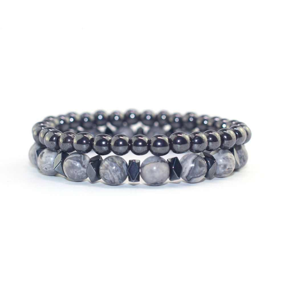 2pc/sets 6MM&8MM Gray Stone Black Gallstone Bracelet Distance Bracelets for Women Men Natural Stone Bracelet Jewelry Party Gift