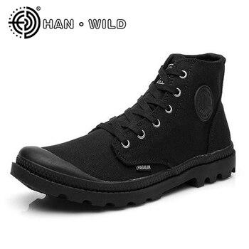 Zapatos de lona clásicos zapatos de los hombres de encaje zapatos vulcanizados zapatos al aire libre de alta superior pisos militar desierto zapatos casuales de los hombres pisos zapatos de viaje