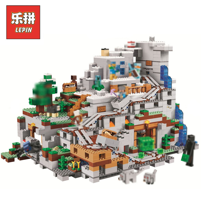 In Stock DHL Lepin Sets 18032 2932Pcs Minecrafted Figures Mountain Cave Model Building Kits Blocks Bricks Educational Toys 21137 lepin 18032 minecrafted figures the mountain cave model building kits blocks bricks toys for children compatible legoing 21137
