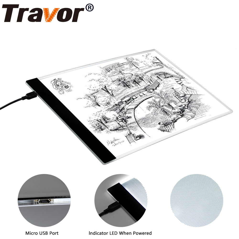 US $21 59 30% OFF|A4 Ultra thin Portable LED Light Box tracer USB Power LED  Artcraft Tracing Light Pad Light Box for Artists Drawing Sketching-in