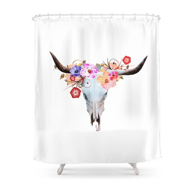 Longhorn Bouquet Shower Curtain Polyester Fabric Bathroom Home Decoration Waterproof Print Curtains With Hooks