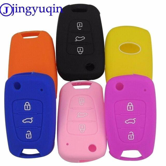 Jingyuqin 50ps 3BTN etui clés en Silicone pour Kia RIO K2 K5 Sportage Sorento pour Hyundai i20 i30 i35 iX20 iX35 Solaris Verna