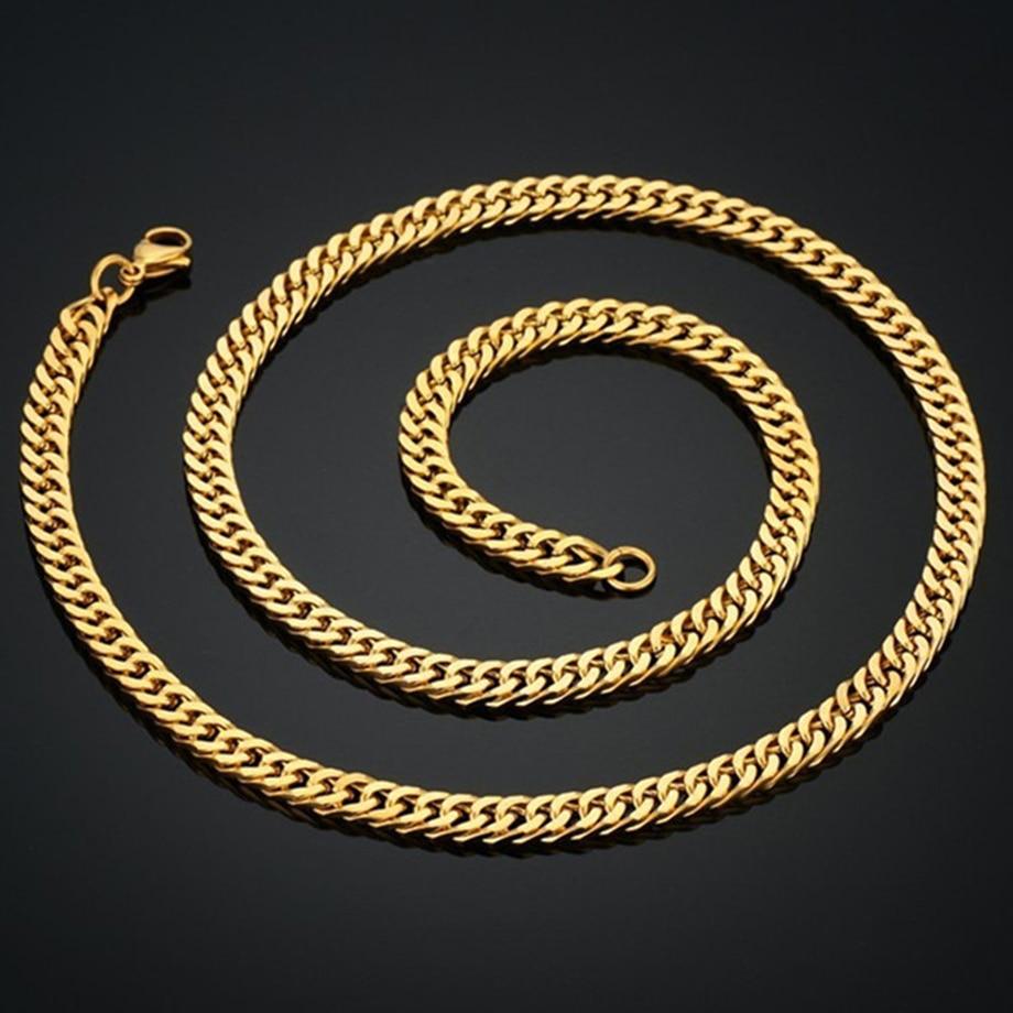 Vintage dolga zlata verižica za moške verižica ogrlica Nova - Modni nakit - Fotografija 6