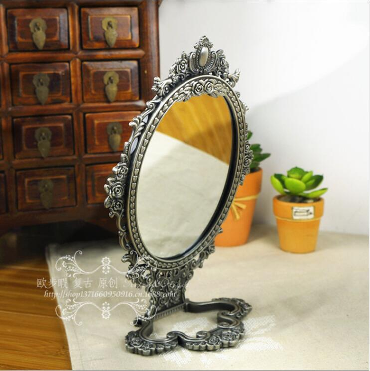 europe 3x magnifying vintage mirror with metal mirror frame large standing mirror dressing mirror for women giftsJ062