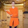 VOA Европейских удлиняется тяжелого шелка рубашка свободной женщины с длинными рукавами сон-блузки B112