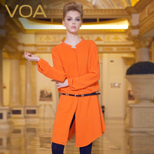 VOA European lengthened heavy silk shirt women loose long sleeved sungsang blouses B112